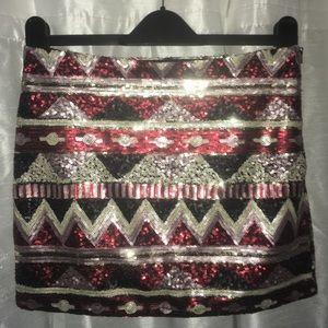 Sequin skirt zip sparkle Crimson Lavender Silver